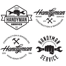 Handyman Labels, Badges, Emblems, Design Elements. Tools Silhouettes. Carpentry Related Vector Vintage Illustration.