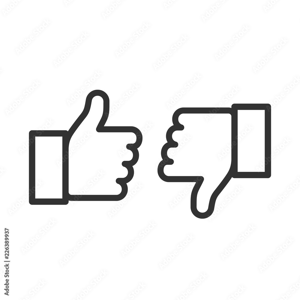 Fototapety, obrazy: Thumbs up and thumbs down. Flat style - stock vector.