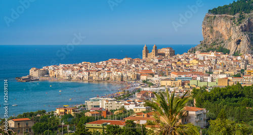 Panoramic view of Cefalù in the summer. Sicily (Sicilia), southern Italy.