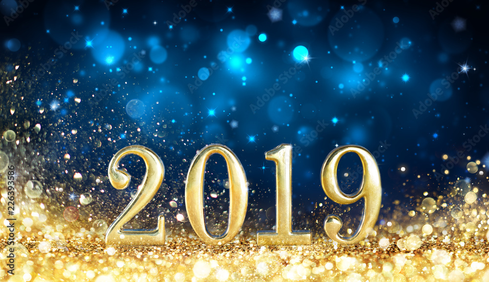 Fototapeta Happy New Year 2019 - Glitter Golden Dust