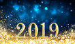 Leinwanddruck Bild - Happy New Year 2019 - Glitter Golden Dust