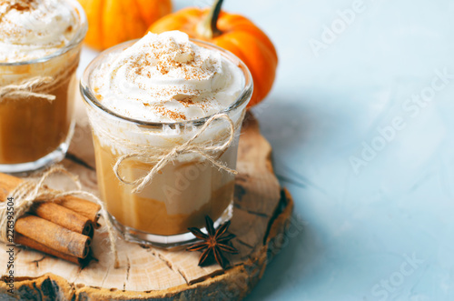 Leinwand Poster Pumpkin Spice Latte, Coffee, Milkshake or Smoothie with Whipped Cream and Cinnam