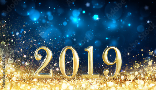 Fototapeta Happy New Year 2019 - Glitter Golden Dust