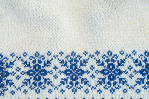 Texture of blue and white traditional winter sweater background Canvas Print