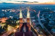 Leinwanddruck Bild - Aerial drone view on Basilica and city center in Rybnik.