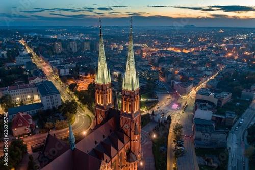 Fotografia, Obraz Aerial drone view on Basilica and city center in Rybnik.