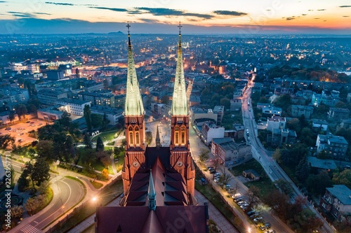 Aerial drone view on Basilica and city center in Rybnik. Fototapet