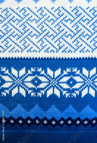 Photo  Pattern texture of blue and white traditional winter sweater background
