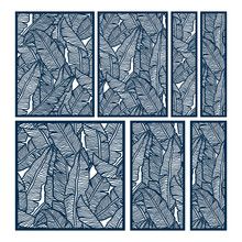 Laser And Die Cut Ornamental Panels Template Set With Pattern Of Banana Leaves. Ratio 1:1, 1:2, 1:3, 2:3, 3:4. Cabinet Fretwork Panel. Lasercut Metal Panel. Wood Carving.
