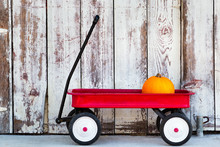 Pumpkin In A Red Flyer Wagon By A Rustic Barn
