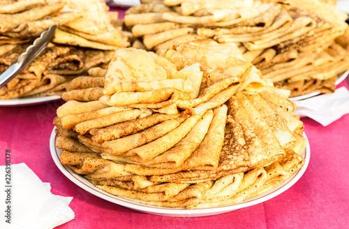 Papiers peints Xian Appetizing fried pancakes on the Pancake Week
