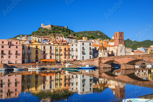 Beautiful view of Bosa town, Sardinia island, Italy. Travel destination
