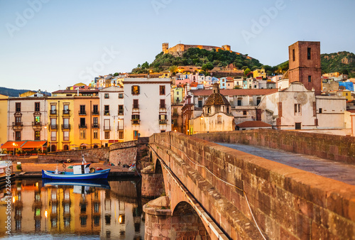 Cuadros en Lienzo Beautiful view of Bosa town, Sardinia island, Italy