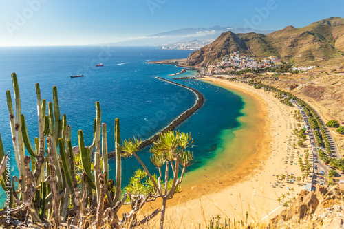 Fotobehang Canarische Eilanden Beach Las Teresitas in Tenerife - Canary Islands Spain