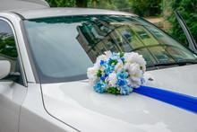 UKRAINE, DNIPRO - SEPTEMBER 29/2018: The Newlyweds Decorated The Wedding Car.