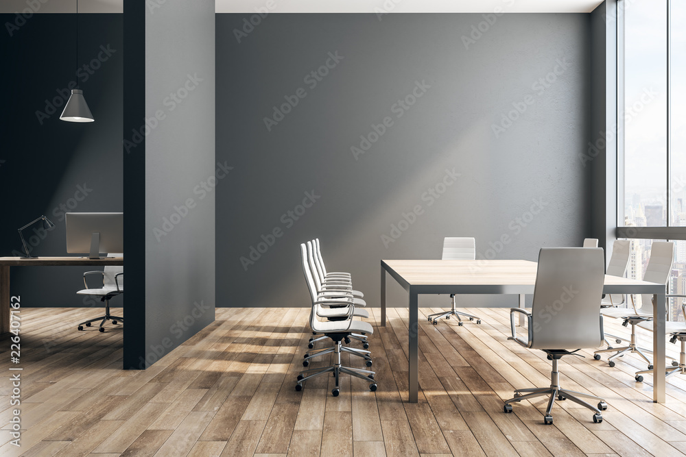 Fototapeta Black office interior