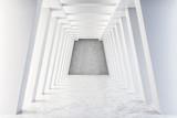 Fototapeta Perspektywa 3d - White concrete tunnel interior