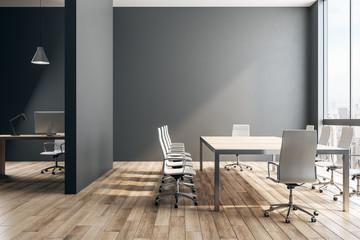 Black office interior
