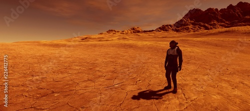 Poster de jardin Desert de sable Extremely detailed and realistic high resolution 3d illustration of a human on a mars like planet