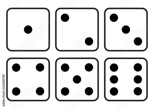 Foto Dice icon. Craps. Six dice set. Vector illustration