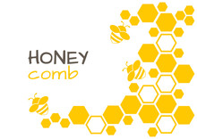 Honey Abstract Background With Honeycomb And Bee. Vector Illustration