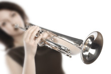 Trumpet Player. Woman Trumpete...