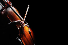 Cello Player. Cellist Hands Playing Cello