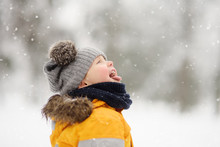 Cute Little Boy Catching Snowflakes With Her Tongue In Beautiful Winter Park