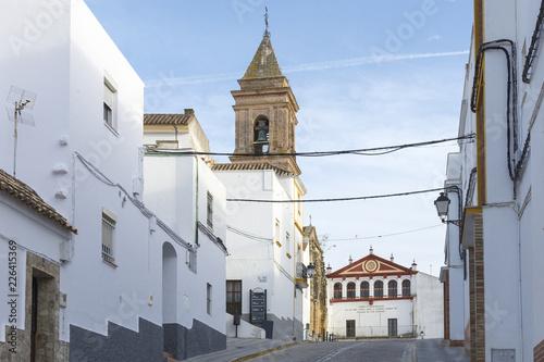 Photo  Iglesia de San Jorge y ayuntamiento del pueblo de Alcalá de los Gazules, municip