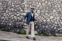 Dancing Hipster Man In Vintage Suit
