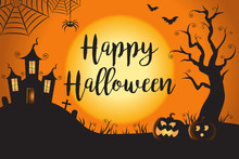 Happy Halloween Spooky Nighttime Scene Horizontal Background 1