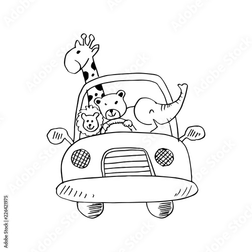 Staande foto Cartoon cars Cute animals in car on road