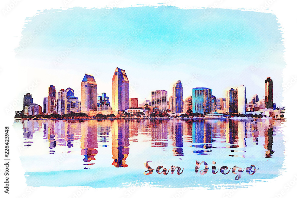 Watercolor painting from photograph of San Diego Skyline at sunset from Coronado