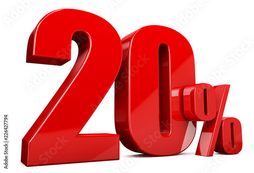 Photo  3d render illustration. Red twenty percent on a white background.