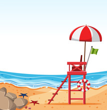 Empty Beach With Lifeguard Chair