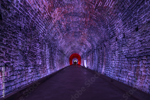 Photo  Ancient Rarilway Tunnel lighted in Purple, Brockville, Ontario, Canada