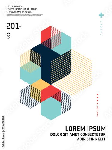 Abstract geometric isometric shape layout design template background