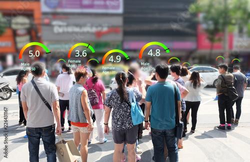 Fotografía  Social credit score concept, AI analytics identify person technology, Intelligent rating, reputation