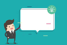 Flat Design Business Vector Illustration Empty Copy Space For Ad Website Promotion Esp Isolated Banner Template. Man In Suit Standing Talking With Blank Speech Bubble And Bulb Idea Icon