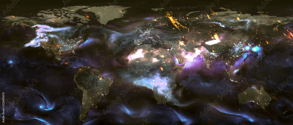 Fototapety, obrazy: Landscape of planet Earth with clouds and night lights. Elements of this image furnisfurnished by NASA.