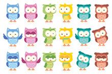 Cute Owl Funny Cartoon Isolated Vector Set
