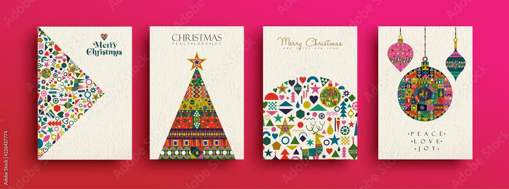 Fototapety, obrazy: Merry Christmas retro folk art card collection
