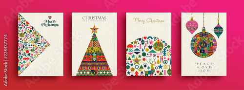 Valokuva  Merry Christmas retro folk art card collection