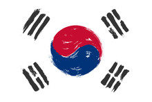 South Korea Flag With Grunge W...