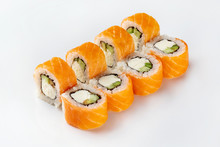 Closeup Image Of Classic Philadelphia Sushi Rolls With Salmon, Cheese And Cucumber Isolated At White Background.