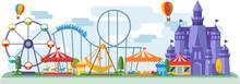 Amusement Park In Flat Colorfu...