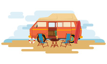 Camper Van Caravan Sit On The Park With Chair