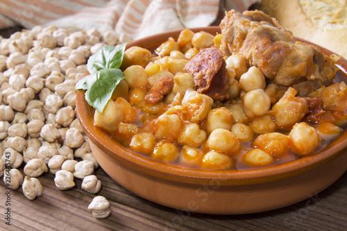 clay casserole with stewed chickpeas