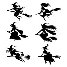 Halloween Witches Silhouettes On Broom Set