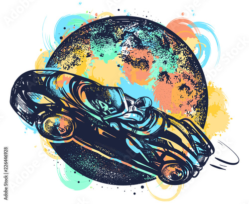 Astronaut drives car through Universe watercolor splashes style, car in space tattoo and t-shirt design. Symbol of science, travel to Mars, future technologies, dream, imagination
